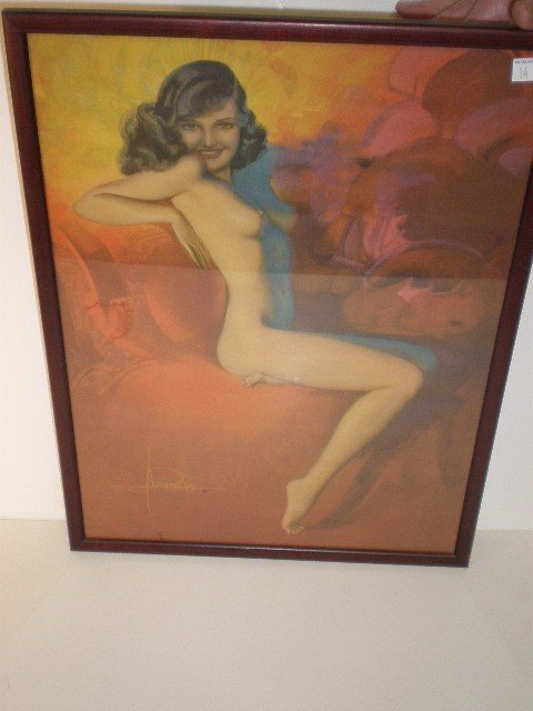 14: Rolf Armstrong female nude calendar print. Seated w