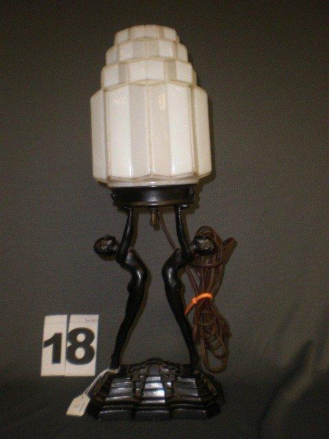 18: Figural female nude lamp base. Deco blk ptd pot met