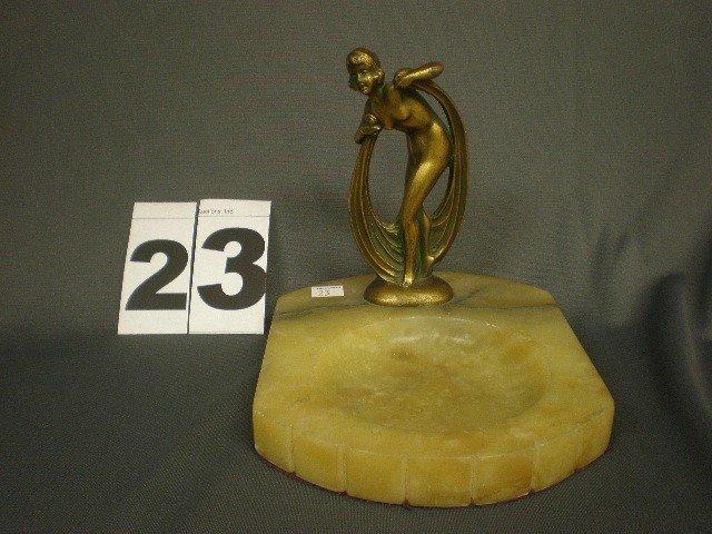 23: Figural female nude ash tray. Bronzed pot metal sta