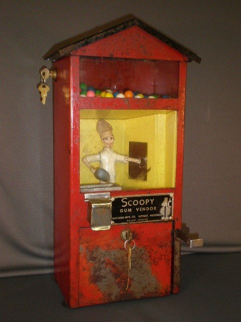 "58: ""Scoopy Gum Vendor"" bubble gum machine. Gaylord Mfg"