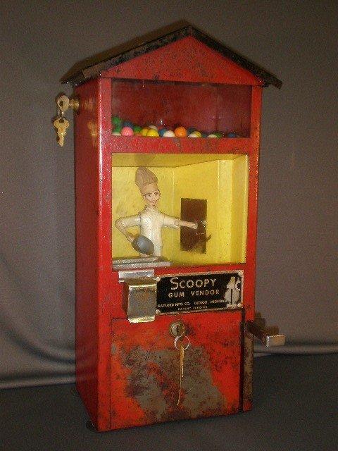 "58: ""Scoopy Gum Vendor"" bubble gum machine. Gaylord Mfg"