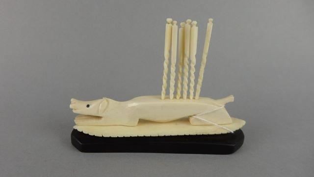 Carved Ivory  Toothpick Holder - 2