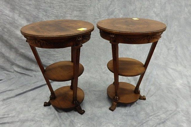 Two Walnut  Round Lamp Tables