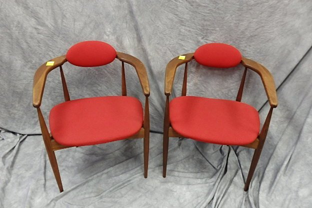 Pair Mid-Century Open Arm Chairs