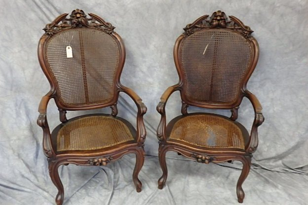 Pair of Late Victorian Carved Open Arm Chairs