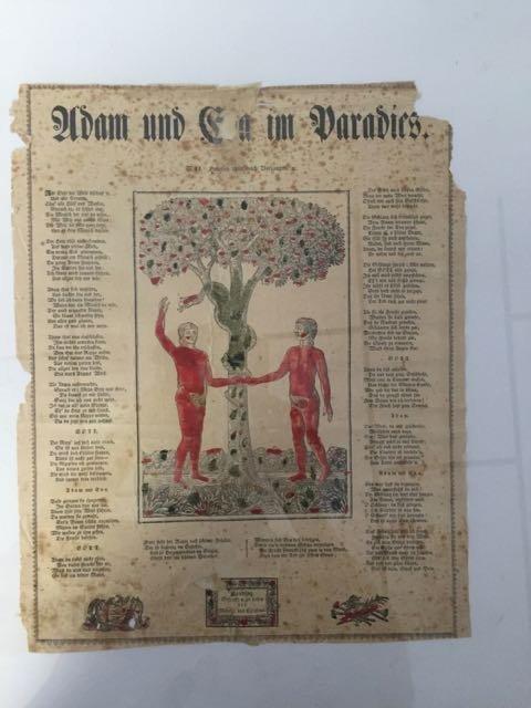 """""""Adam and Eve in Paradise"""" Fraktur"""