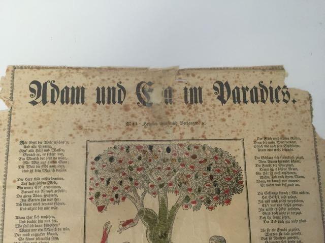 """""""Adam and Eve in Paradise"""" Fraktur - 4"""