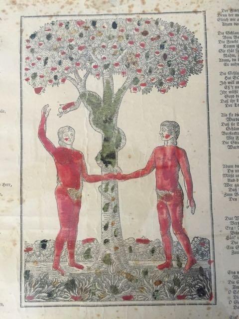 """""""Adam and Eve in Paradise"""" Fraktur - 6"""