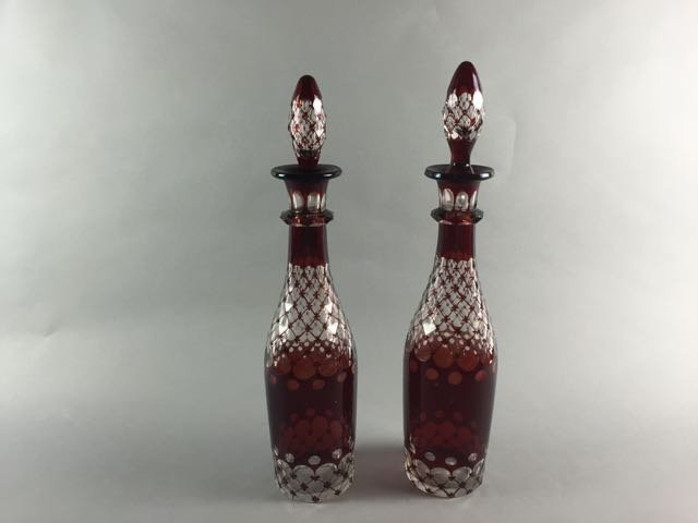 Pair of cranberry cut to clear decanters - 2