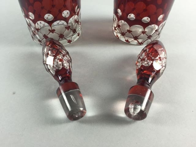 Pair of cranberry cut to clear decanters - 3