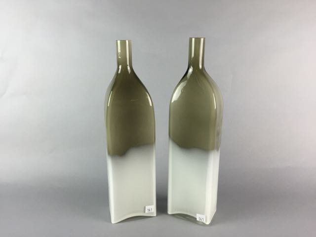 2 mid century glass bottles