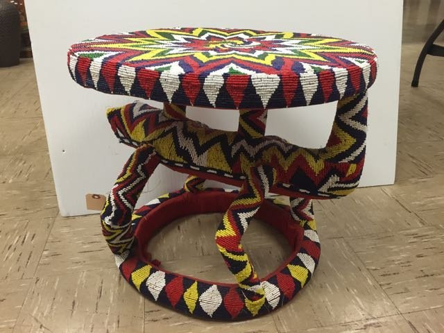 Colorful Beaded African Stool