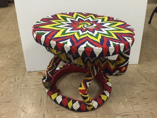Colorful Beaded African Stool - 2
