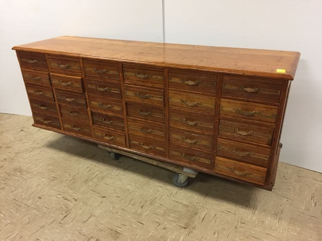 Antique Oak 30 Drawer Library File Cabinet