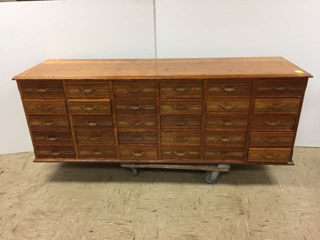 Antique Oak 30 Drawer Library File Cabinet - 2