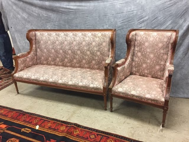 Antique Carved Sofa and Arm Chair
