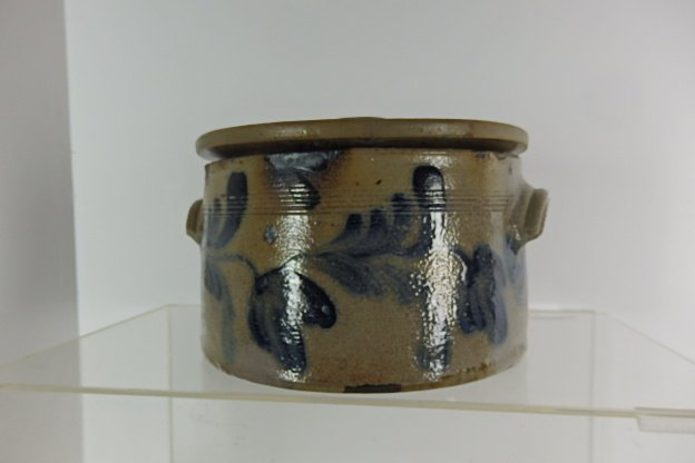 19th Century Stoneware Cake Crock with Lid
