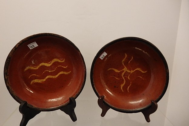 Lot 2 Red Ware  Plates - 2