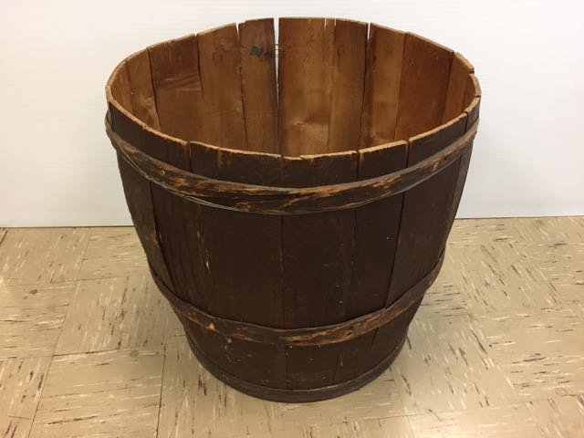 Antique Large Wooden Barrel with Lid - 3