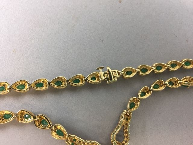 14k Necklace with Emerald and Diamonds - 7