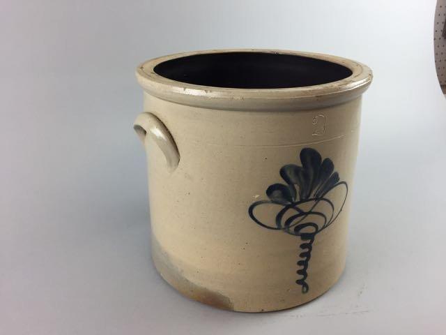 Decorated Stoneware Storage Crock - 3