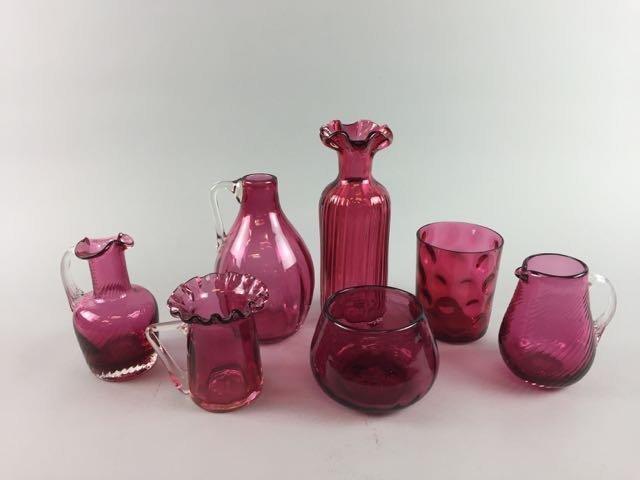 Lot 7 Pieces Cranberry Glass
