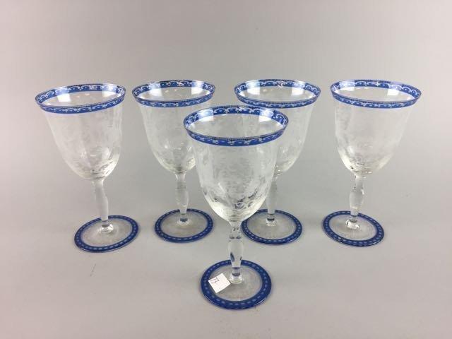 Set of 5 Etched Stem Glasses