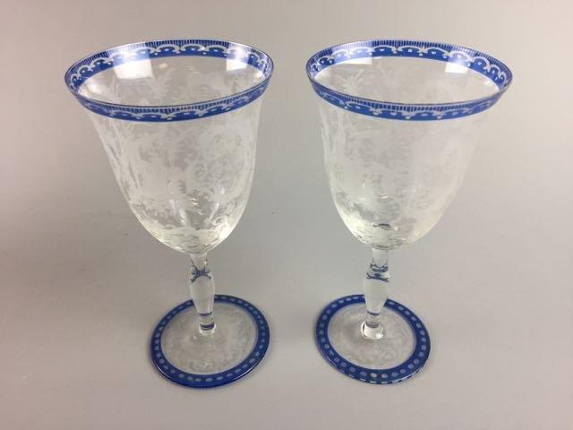 Set of 5 Etched Stem Glasses - 3