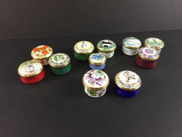11 Enamel Pill Boxes