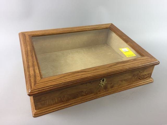 Burled Maple Table Top Display Case