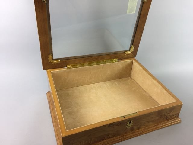 Burled Maple Table Top Display Case - 3
