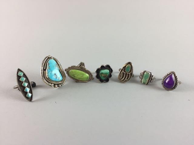 Lot 7 Sterling Native American Rings
