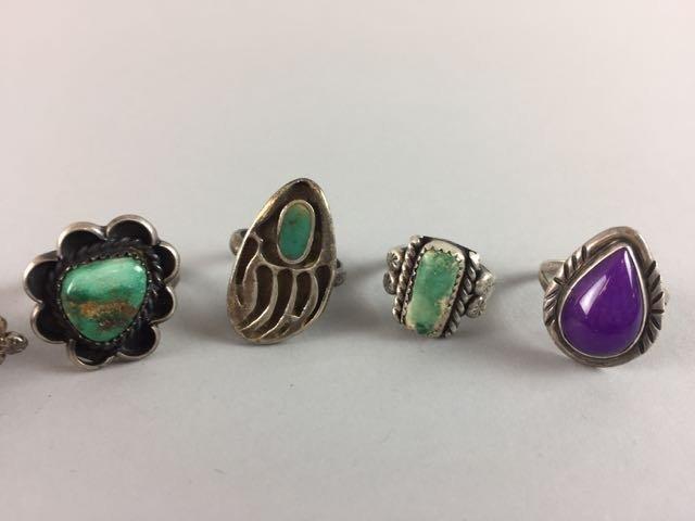 Lot 7 Sterling Native American Rings - 2