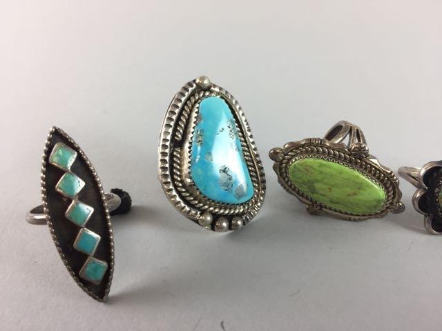 Lot 7 Sterling Native American Rings - 3