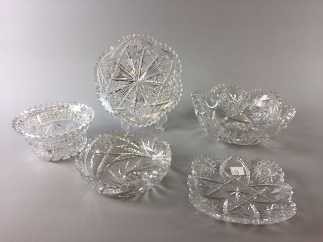 5 Pieces Cut Glass Lot