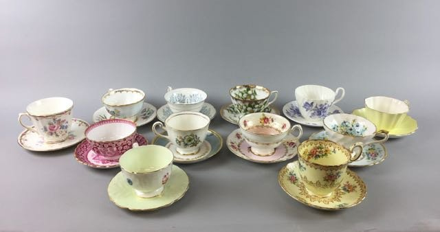 Lot of 12 Bone China Cups and Saucers
