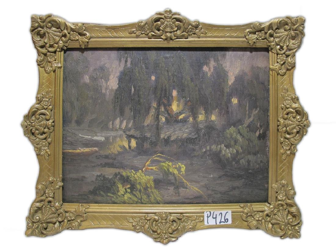 Antique oil on wood landscape painting. signed