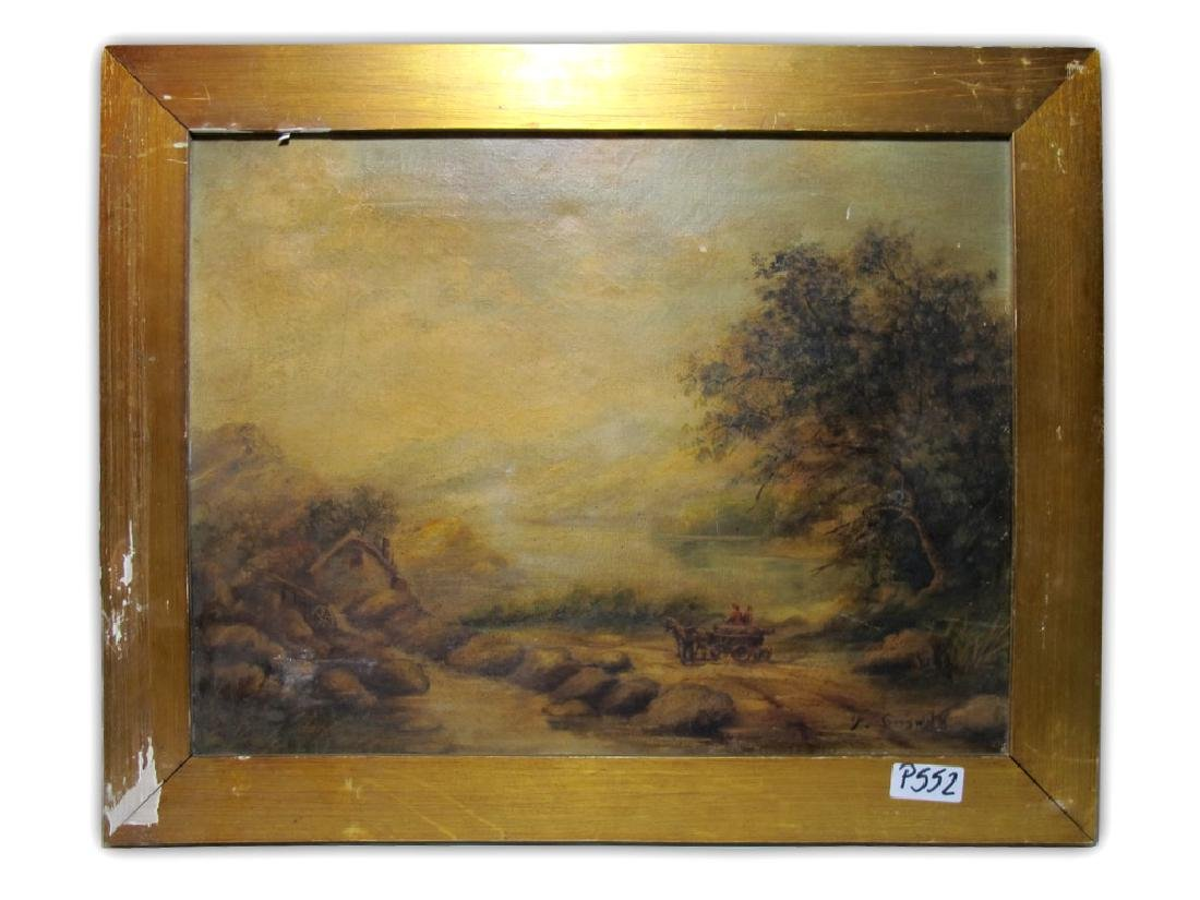 Antique oil on canvas landscape, signed F. GRESWITK