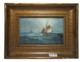 Antique Oil On Canvas Seascape, Signed ASPRUZO