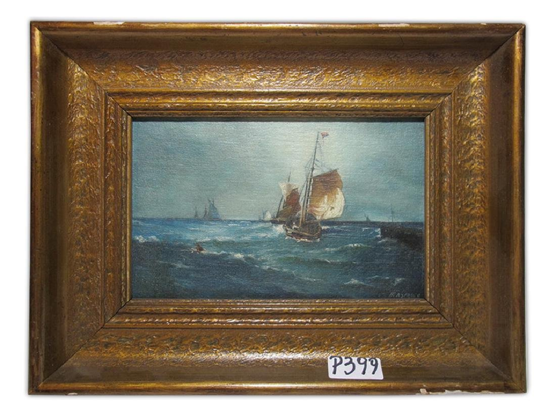 Antique oil on canvas seascape, signed ASPRUZO