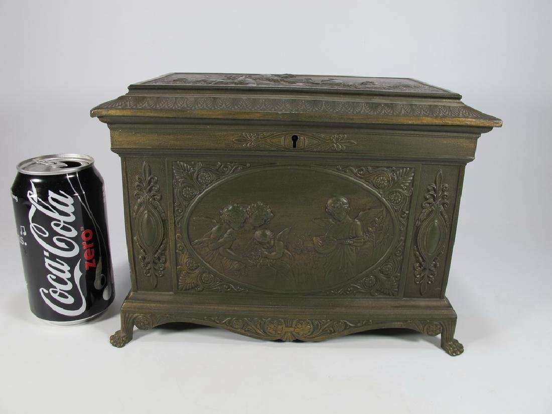 Antique bronze or brass jewelry box