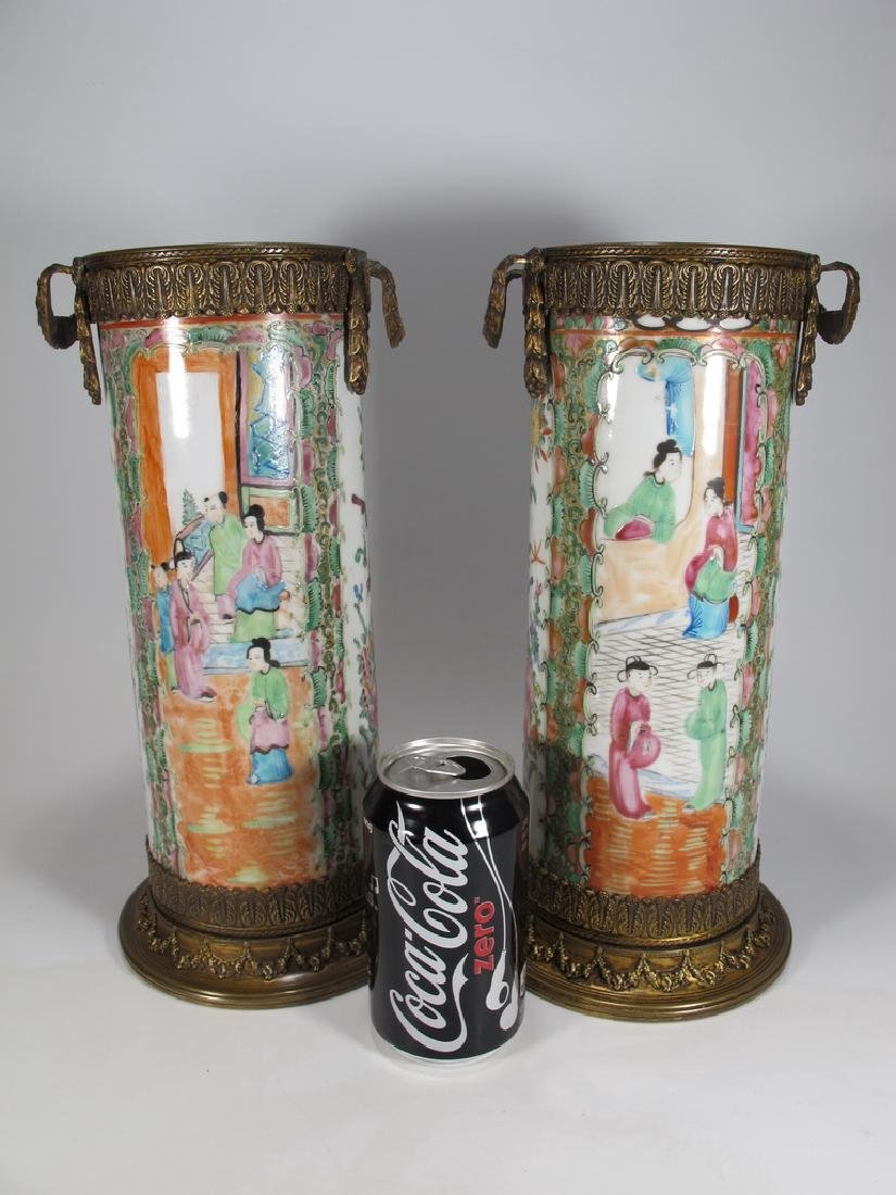 Antique Chinese pair of bronze & porcelain vases