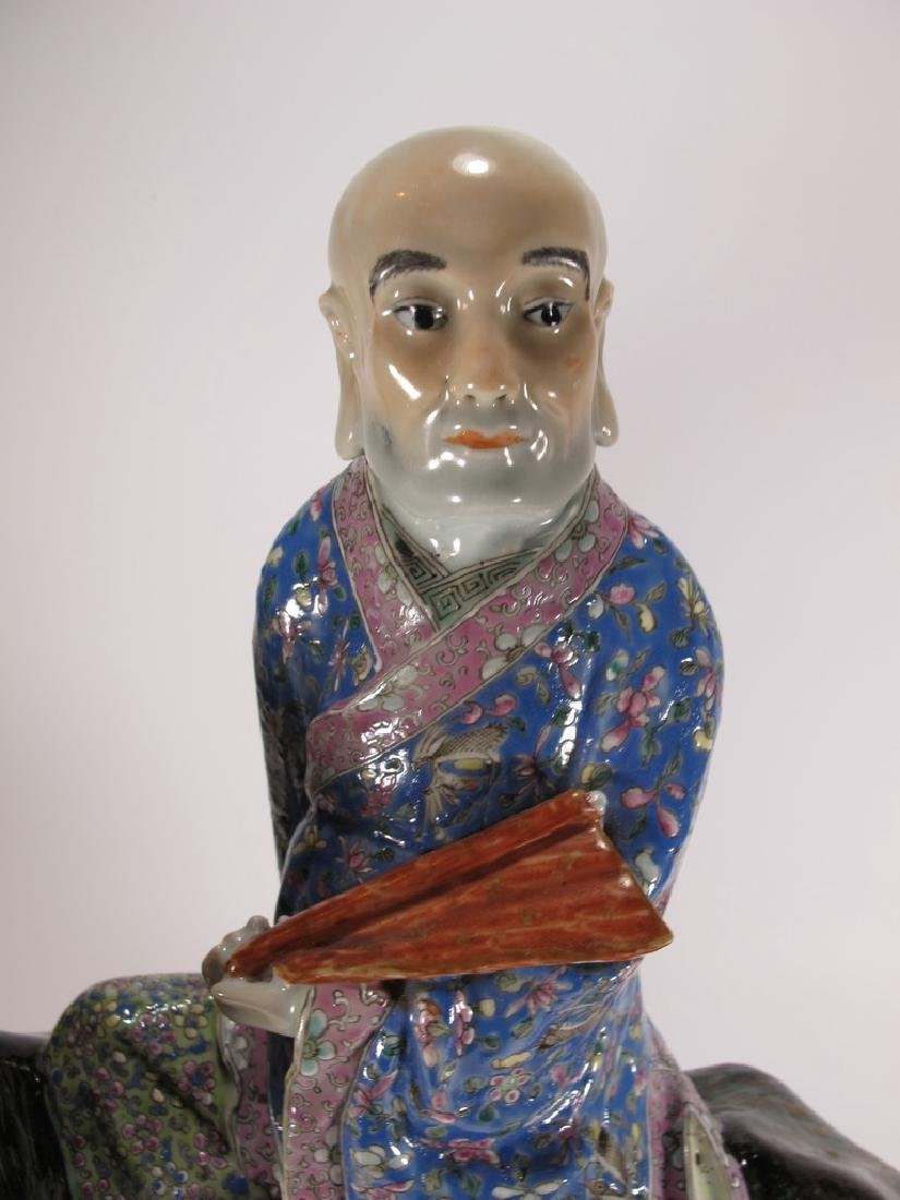 Antique Chinese ceramic mounted on foodog statue - 10