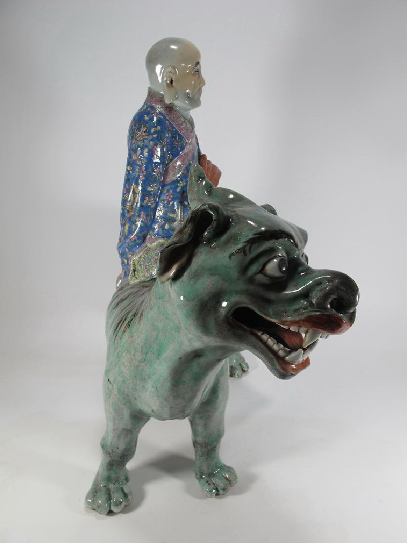 Antique Chinese ceramic mounted on foodog statue - 5