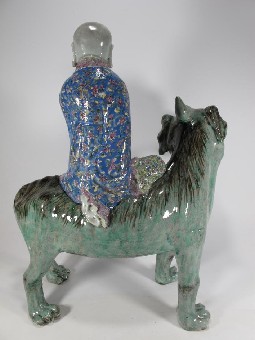 Antique Chinese ceramic mounted on foodog statue - 6