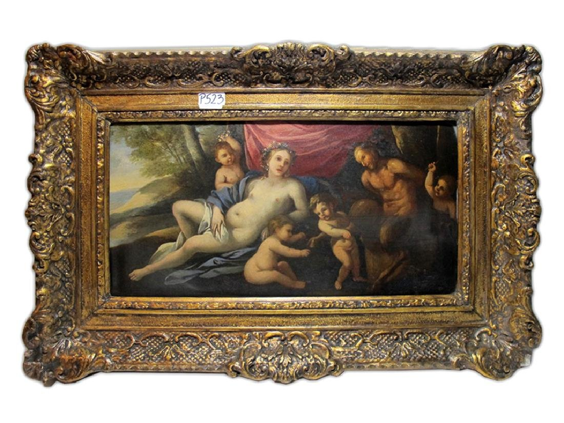 Early 19th C European oil on wood painting