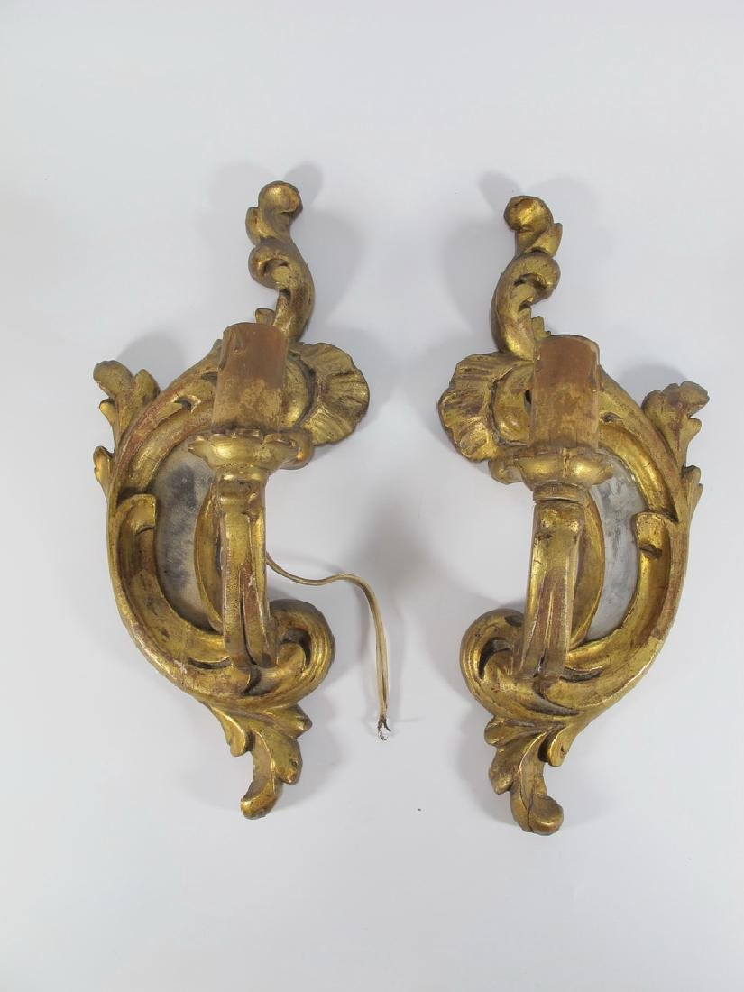 Antique French pair of gilt wood sconces