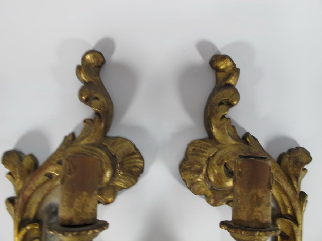 Antique French pair of gilt wood sconces - 3