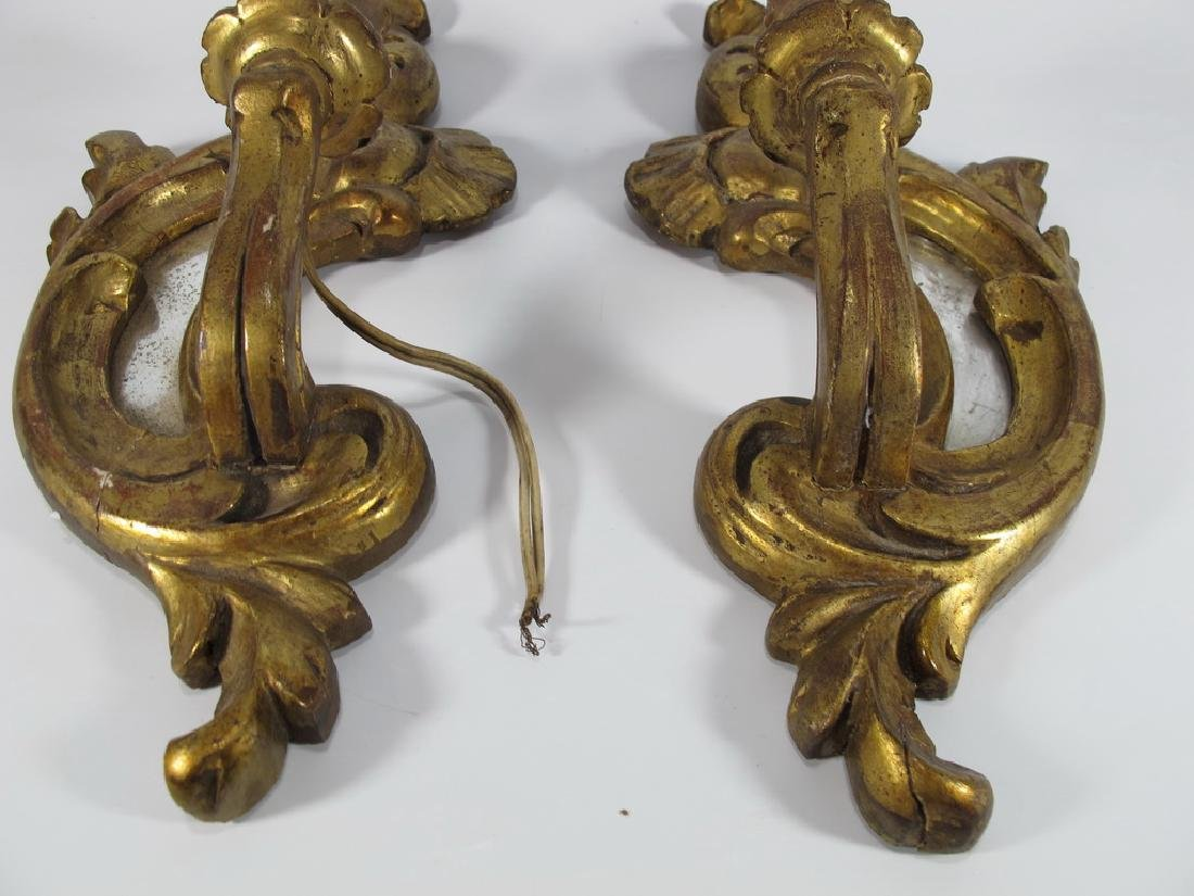 Antique French pair of gilt wood sconces - 4