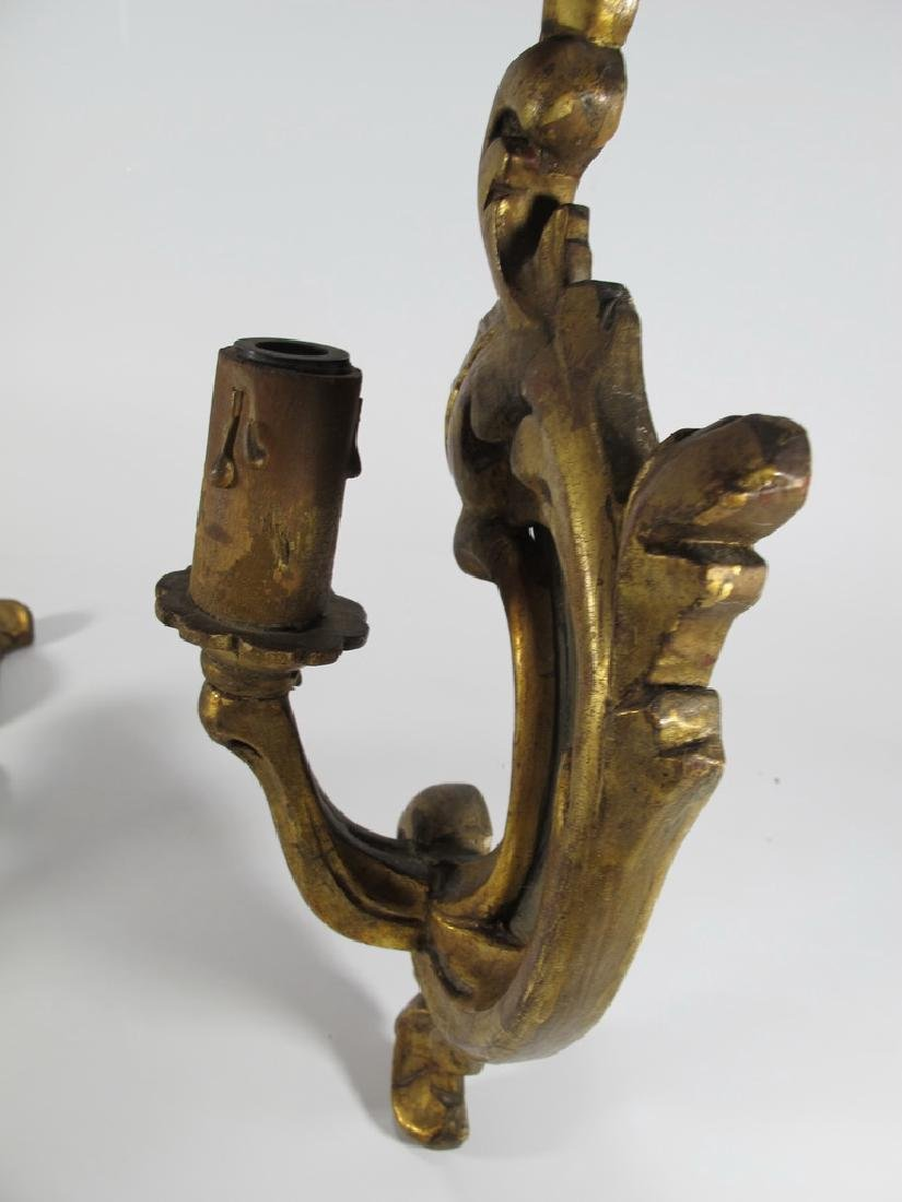 Antique French pair of gilt wood sconces - 6